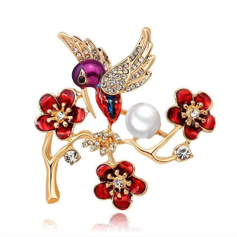 Nuovo arrivo carino uccello spilla pin fiore retrò spille per le donne moda carino spilla pin buon regalo broch spedizione gratuita