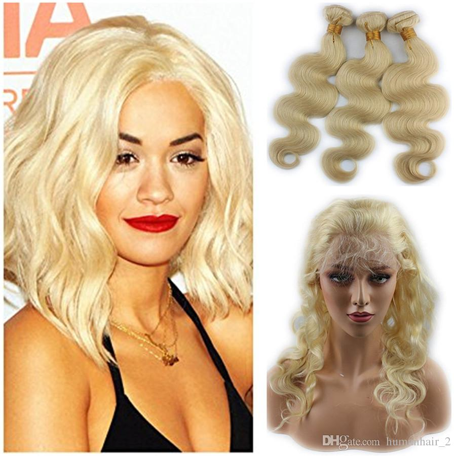 #613 Blonde 22.5X4X2 Russian Body wave 360 closure with bundles human hair wave Blonde hair weaves with full lace frontal 4pcs lot