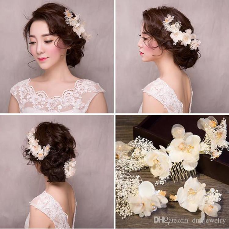 Korea Bridal Hair Combs Clips Girls White Flower Hairbands Wedding Veil Hair Comb Women Dress Banquet Headpieces Headdress Hair Accessories Wedding