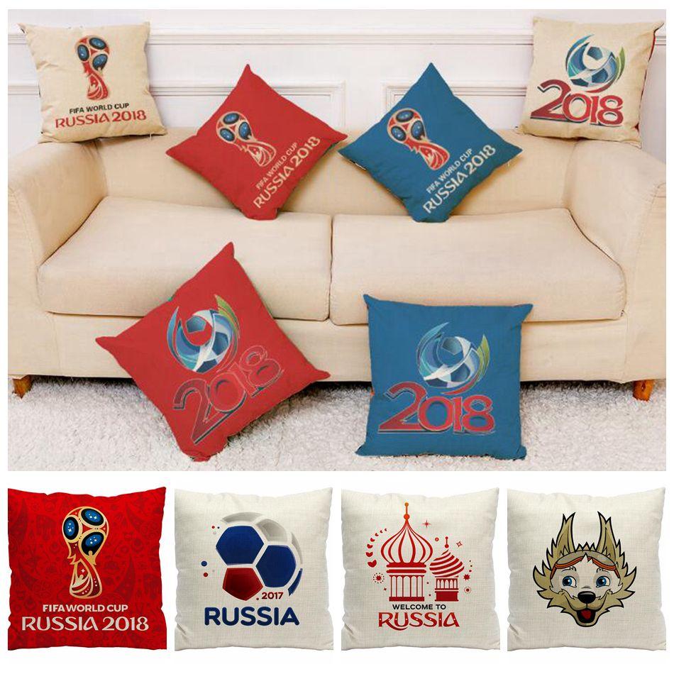 2018 Russia World Cup Pillow Case 45*45cm Football Polyester Linen Pillowcase Home Decor Cushion Cover Seat Cushions 120pcs OOA5002