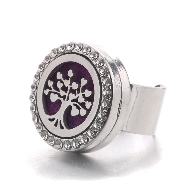 New Crystal Stainless Steel Love Tree Adjustable Aromatherapy Box Ring Men and women Fashion Jewelry Send Six Felt Mat YLH6