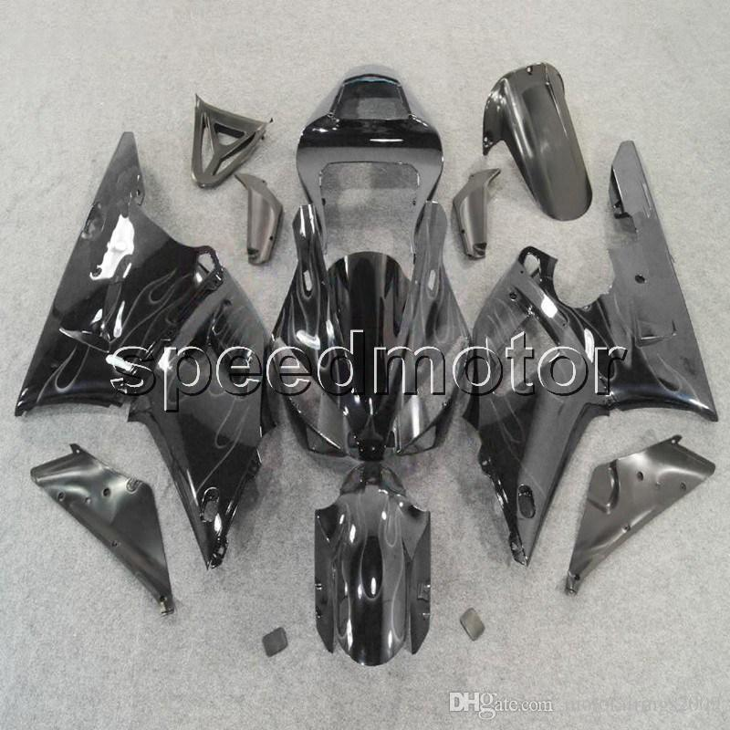 Custom + Screws 블랙 바디 키트 YZFR1 00 01 YZF-R1 2000- 2001 Yamaha 용 ABS 오토바이 페어링
