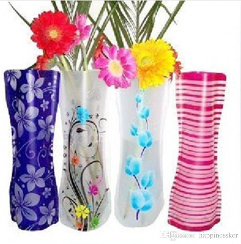 20 pcs Criativo Claro Vasos De Plástico PVC Eco-friendly Dobrável Folding Vaso de Flor Reutilizável Casa Festa de Casamento Decoração de Flores De Plástico Vasos