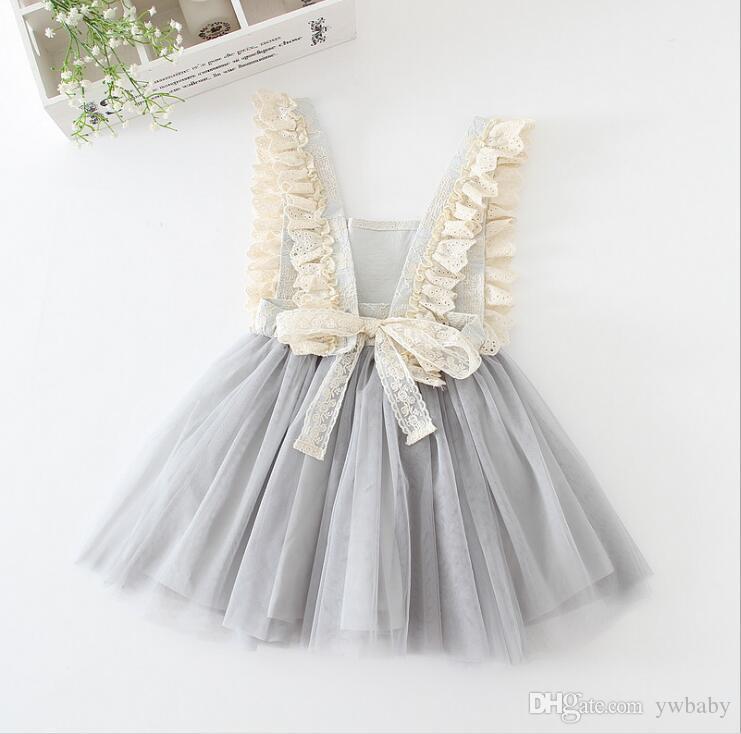 Dziewczyny Sukienka Tulle Koronki Bow Party Dresses Baby Girl Tutu Princess Dress Babies Bez Rękawów Sukienka Odzież dziecięca