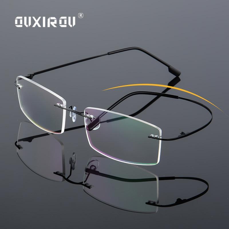 Lekkie szklanki bezbarwne Pamięć ramki Tytanowe Okulary Kobiety Mężczyźni Plac Myopia Okulary Optyczne Ramki Oculos de Grau S858