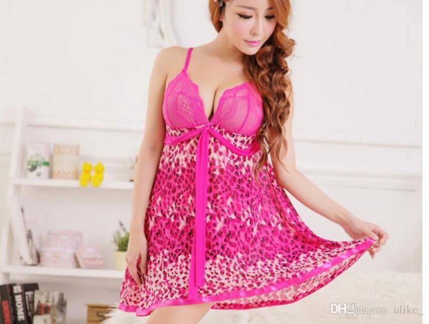 Summer Sexy Female Ladies Girls Underwear Leopard Style Babydoll Sleepwear Dress Leopard Print Lingerie Strap Lace Nightdress