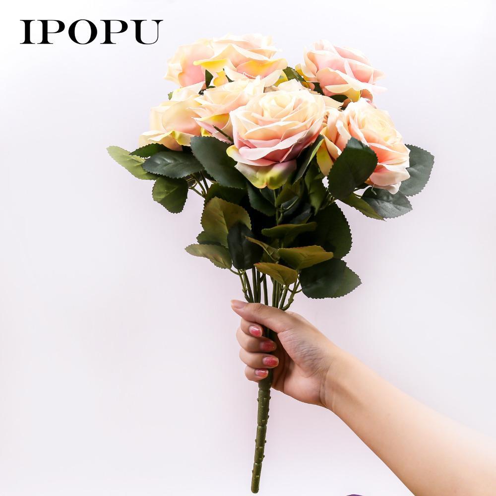 10Heads/lot Fake Rose Flowers Artificial Flowers France Rose Silk Flowers for Wedding Decoration DIY Bride Bouquet Home Decor