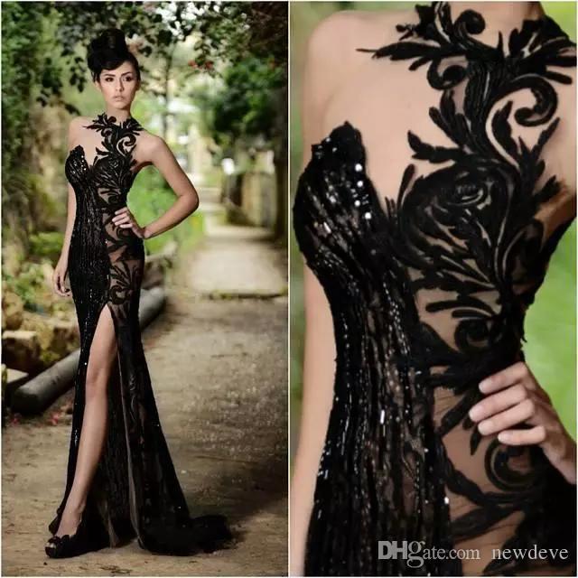 Rami Salamoun Elegante Vestidos de Baile Beading Split Appliqued Alta Pescoço Sereia Lantejoulas Vestidos de Noite 2019 Imagem Real Barato Vestidos Longos Formais