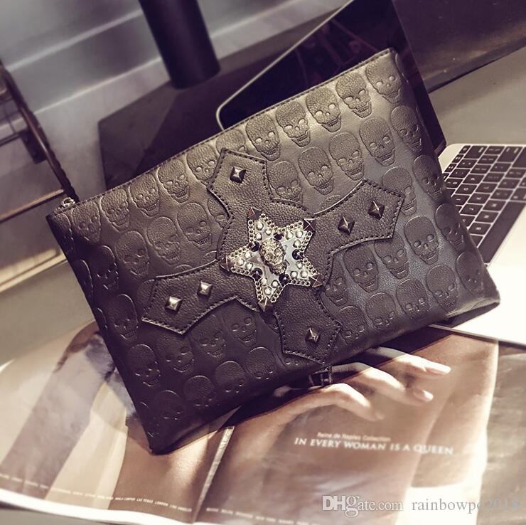 brand men bags street trend ghost head hand bag personality stars rivet men hand bag men essential diamond-encrusted punk envelope bag