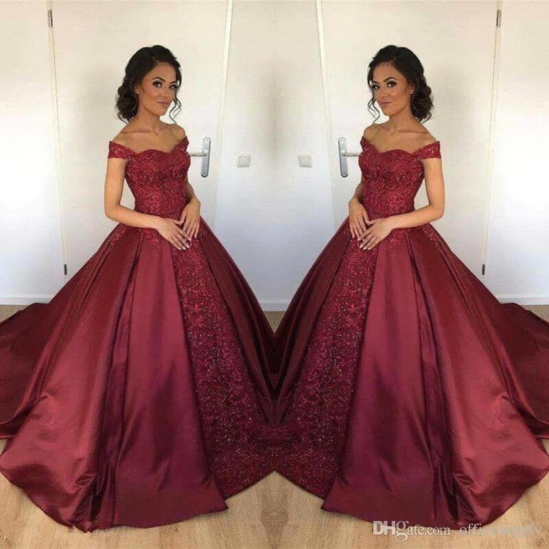 Borgonha Bola Vestido Quinceanera Vestidos Novo Off Should Satin Lace Applique Long Arabic Sweet 65 para meninas formal vestido de festa de baile