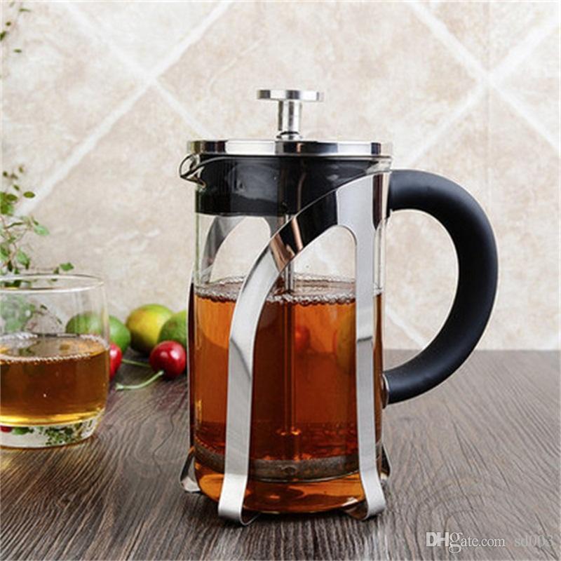 Практичный стеклянный кофейник термостойкая ручка из нержавеющей стали чай Infuser чайник фильтр тип давления кухня слишком легко носить с собой 39gc cc