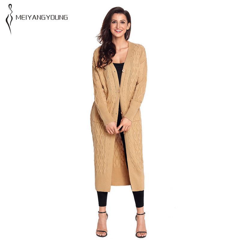 Invierno mujer casual cardigan largo abrigo de punto suelto botón costilla manga con bolsillo caqui gris negro ropa de talla grande