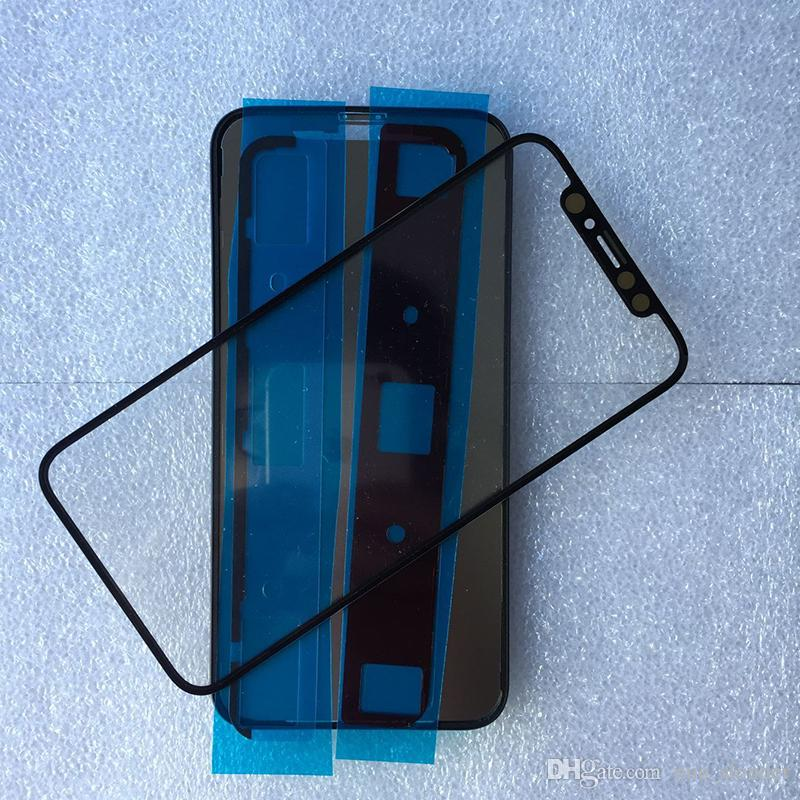 10Pcs DHL Free With Middle Frame Bezel For Apple iPhone X front Out Glass Lens Touch Screen Panel+OCA Film