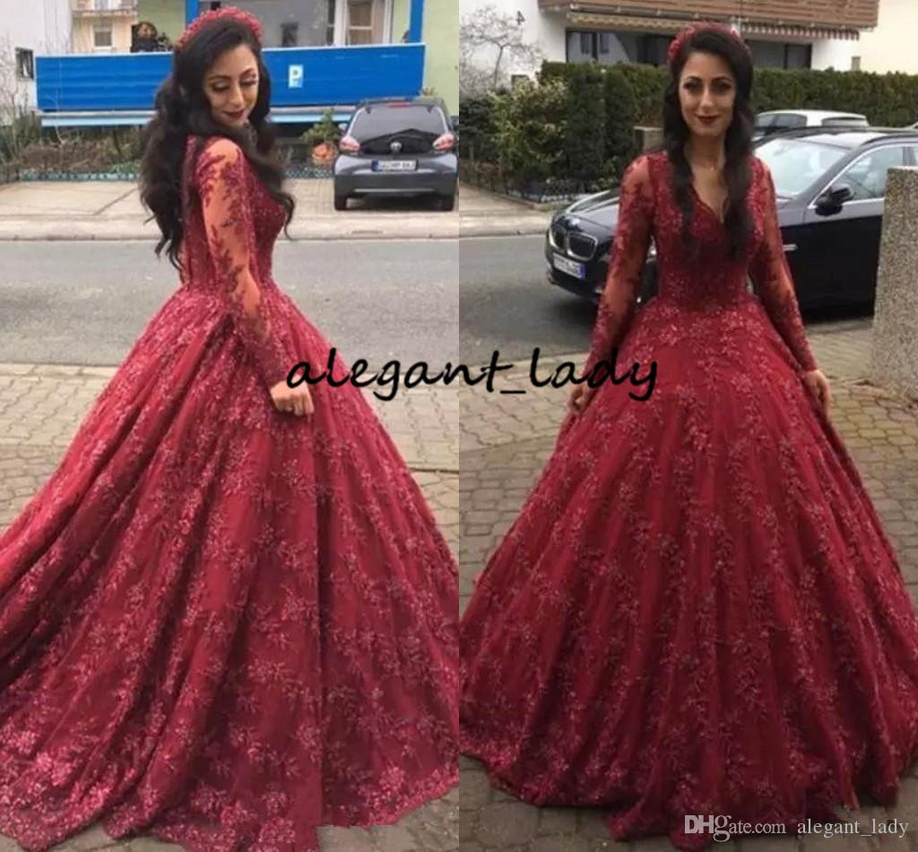 Burgundy Ball Gown Prom Dresses with Long Sleeve 2018 Modest V-neck Full Lace Floor length Puffy Skirt Princess Girl Evening Wear Gowns