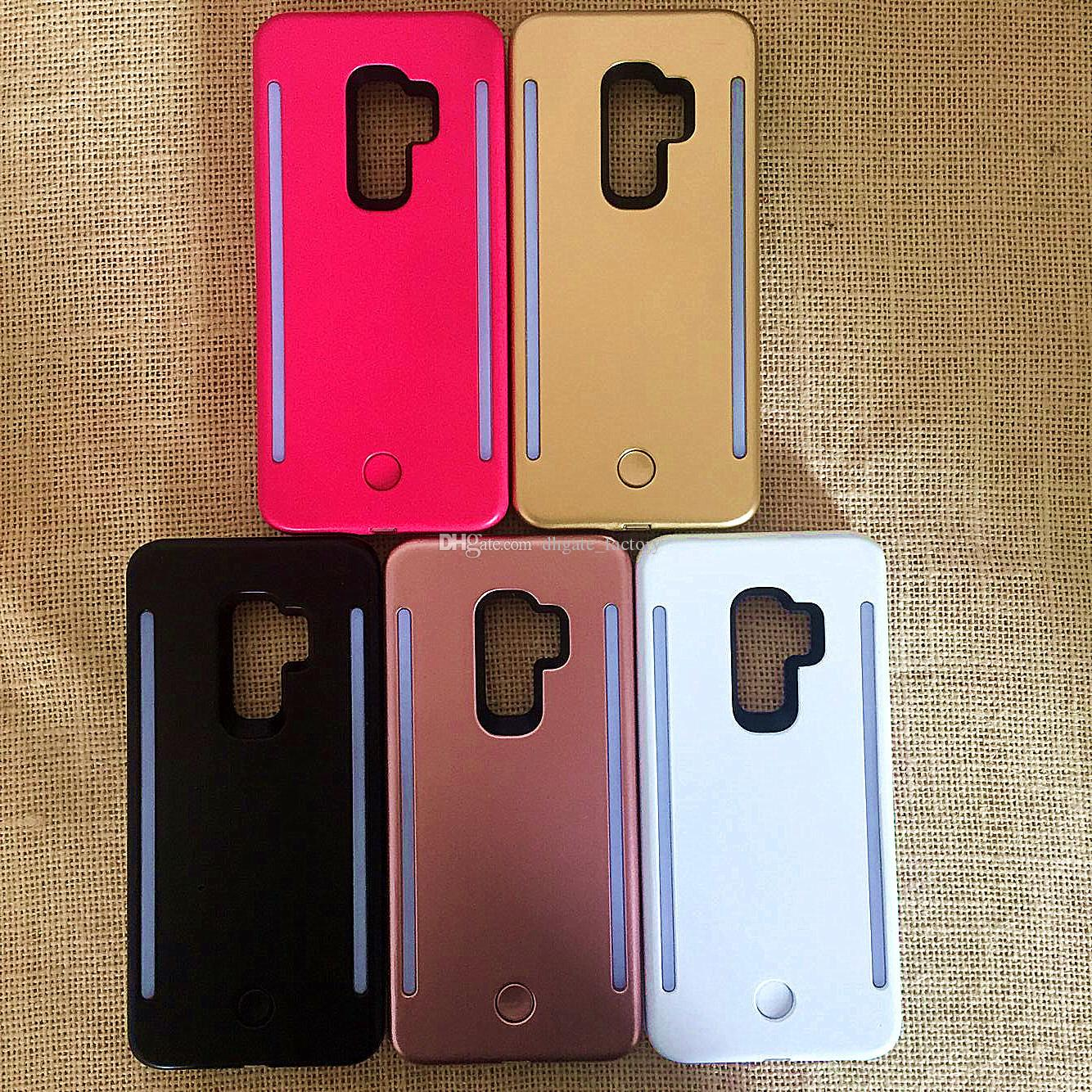 For Samsung S9 S9+ Fill light Selfie LED Light phone Cases Phone Double Sides Light Battery Case For iphone X 8 7 7s S8 S8 plus With logo