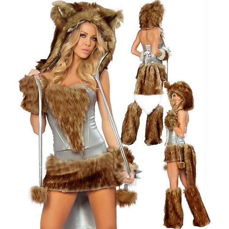 Mujer atractiva del gato de piel falsa Carnaval del cartón de Cosplay del traje de Halloween Winter Night Club Fox tema del traje del lobo de Navidad Uniforme