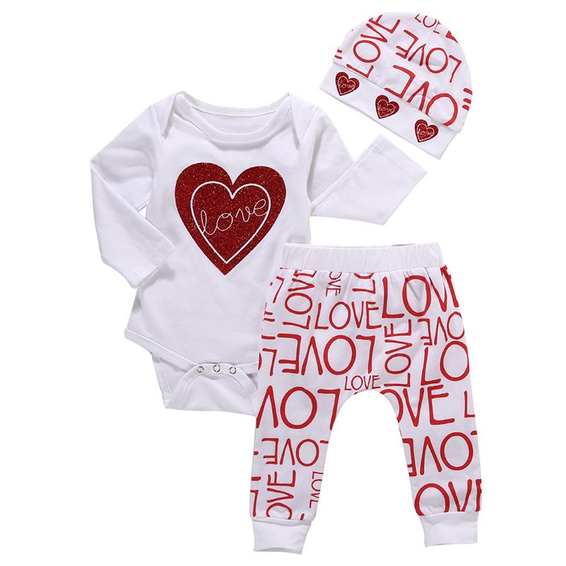 2018 Sıcak Yenidoğan Bebek Erkek Bebek Kız Elbise Aşk Kalp Bodysuit Romper Pantolon Şapka 3 ADET Kıyafet Sonbahar Suit Giyim Seti