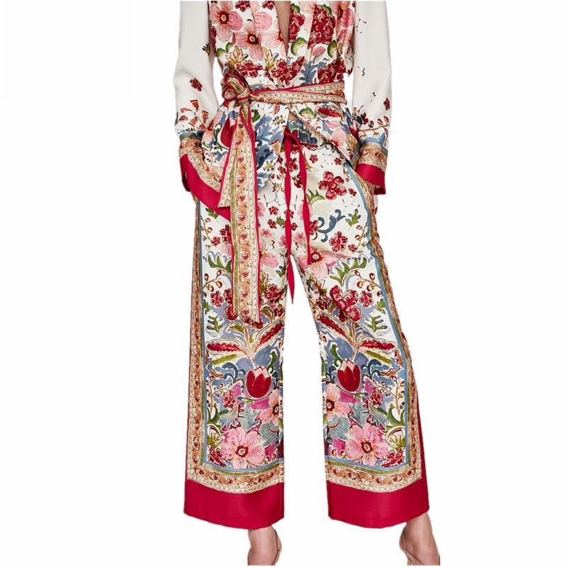 2018 Women Blazer Two Piece Set Women Coat And Wide Leg Pants Set Long Sleeve Tops Trousers Floral Print Sets