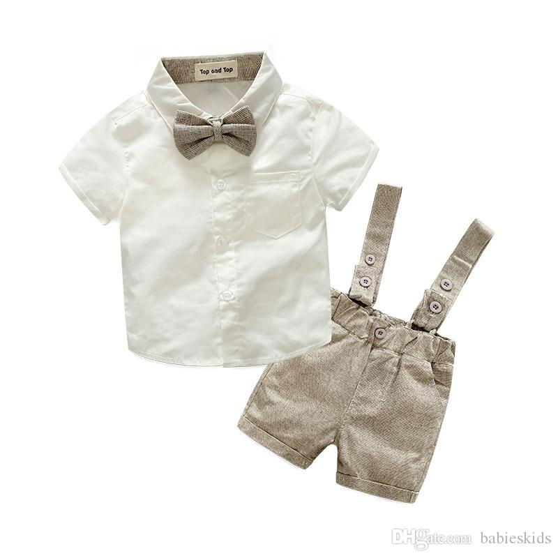 2020 New Summer Fashion Baby Boy Clothes Gentleman T-shirt Overalls Cotton Children Sets Kids Clothing Newborn Clothing Sets 2pcs