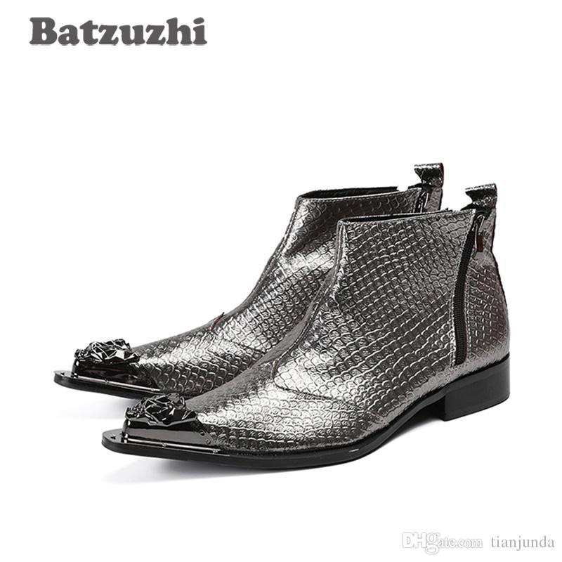 2019 uomini fatti a mano in stile giapponese stivali in metallo punta a punta grigio in vera pelle uomini stivali caviglia matrimonio partito Botas Hombre serpente pelle modello