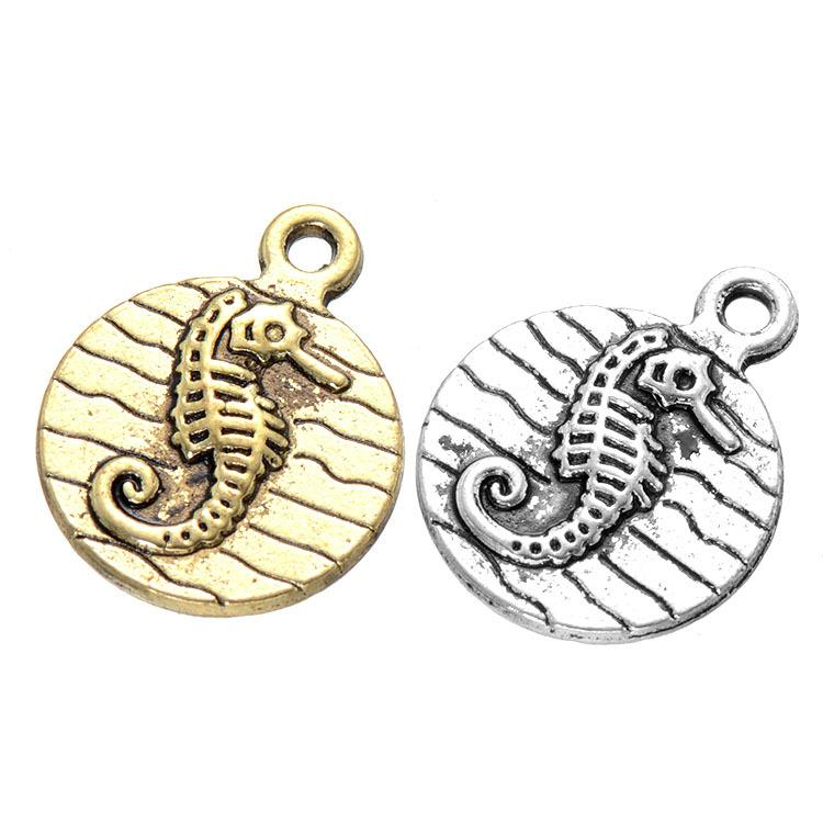 600pcs 15*19mm Diy jewelry antique silver gold alloy animal Seahorse charms pendant for bracelet necklace