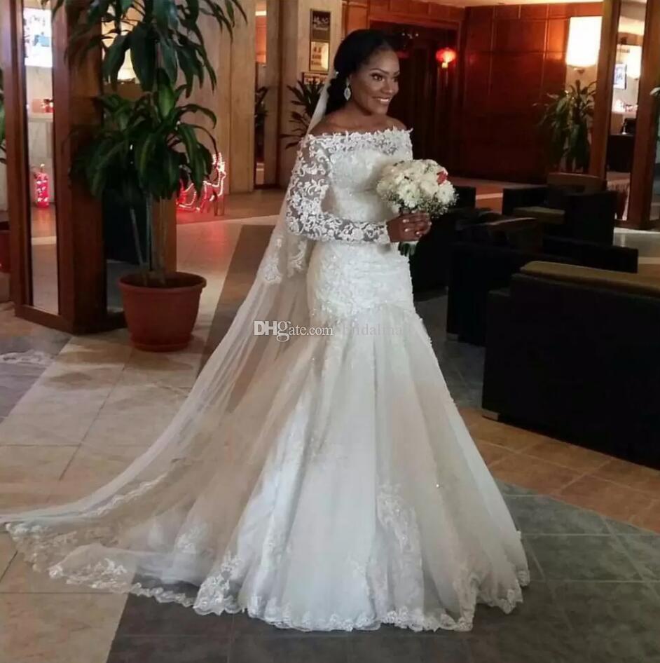 Sheer manga larga sirena vestidos de novia 2020 Sexy apliques de encaje vestidos de novia baratos vestidos de novia africanos por encargo vestidos de novia
