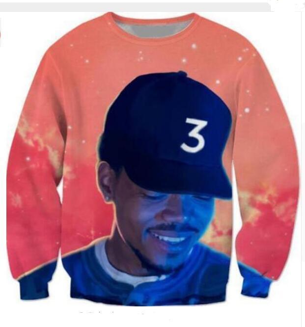 Al por mayor-más nueva moda para mujer / Mens hip hop estrella Chance The Acid Rapper Funny 3D Print Casual sudadera Tops más el tamaño QQy039