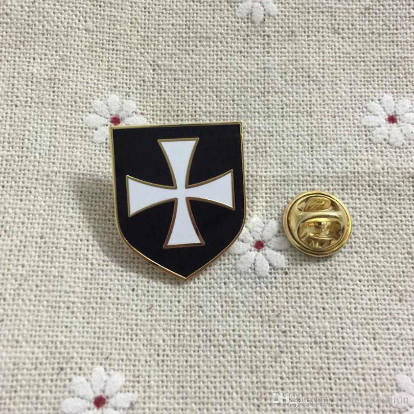 10шт масон эмаль значки белый крест Черный щит христианской армии Крестоносец рыцари тамплиеры масонский отворот Pin и броши