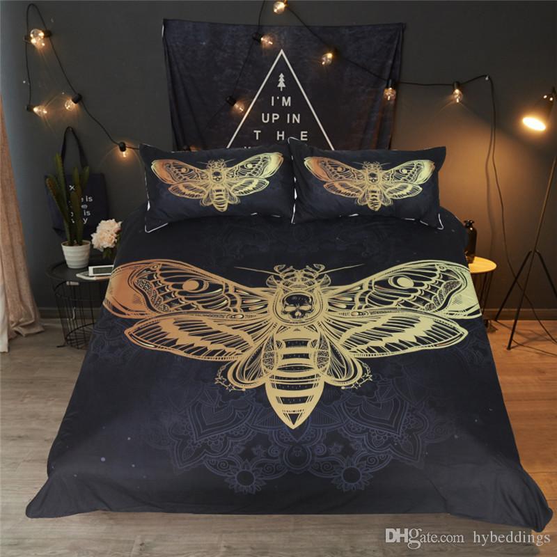 Juego de cama Death Moth Skull Funda nórdica Juego de sábanas Black Golden Home Textiles para Adultos Mariposa Ropa de cama Boho Twin Queen King Size 3pcs
