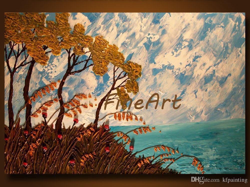 Pintado a mano pinturas al óleo abstracta paleta cuchillo textura paisaje marino pintura al óleo lienzo artículos para el hogar pintura al óleo decoración del hogar