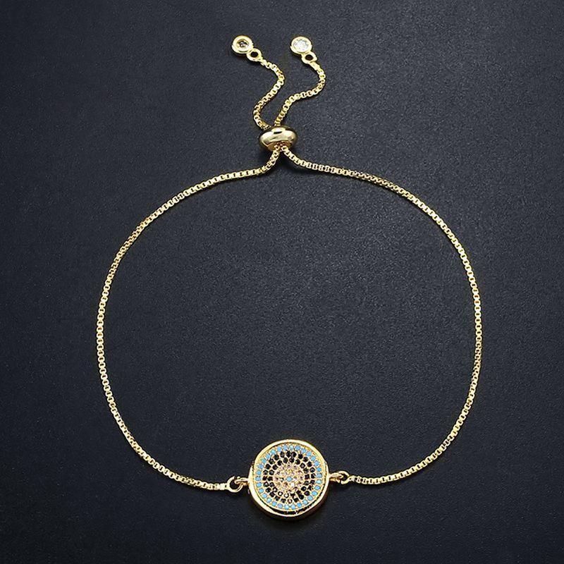 OCESRIO Турецкий сглаза браслеты для женщин Циркон серебряная цепь регулируемый браслет Femme Марка Турция ювелирные изделия brt-k51