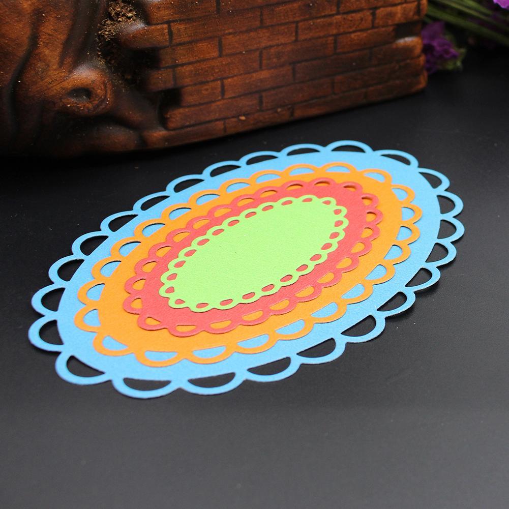 4 Teile satz Oval Metall Stanzformen Für DIY Scrapbooking Album Papier KartenE