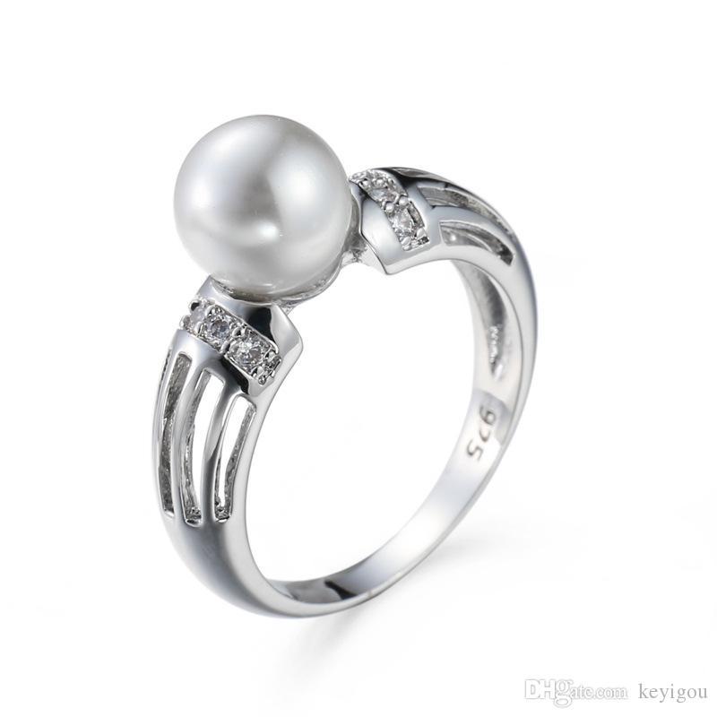 2020 placage 925 bijoux en argent sterling créé anneaux blanc perle pour les femmes de mariage élégant Zircon Mujeres Anillos cadeau Saint Valentin