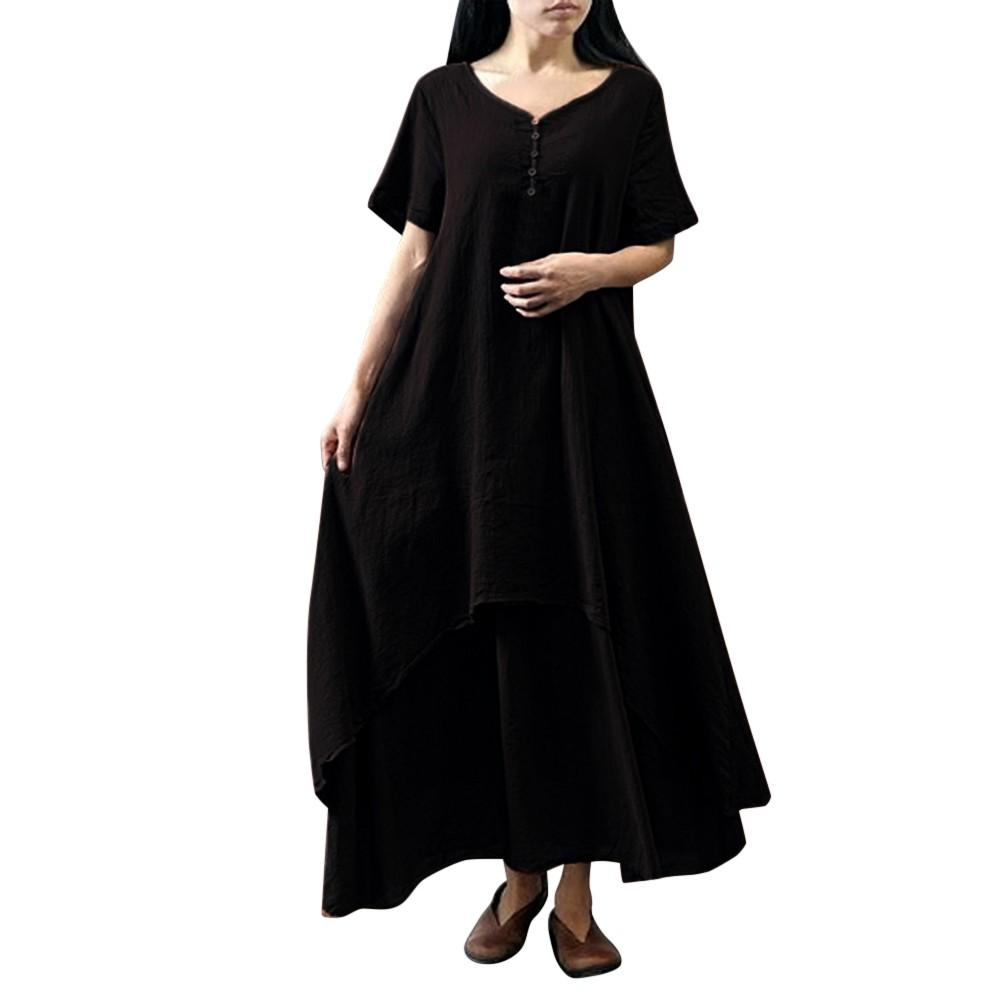Das mulheres Casual Diário Plus Size Manga Curta Soild Splice Lace Bodycon Vestido Longo mulher vintage vestido de algodão Praia