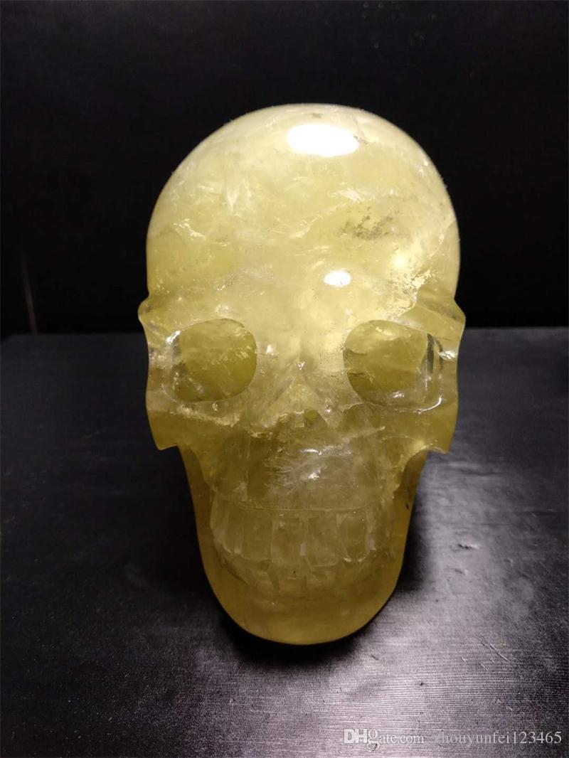 1.65kg pulido cristalino natural cuarzo citrino tallado cráneo de cristal curación para la decoración del hogar cráneo de piedra