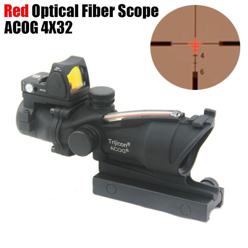 Tactical Trijicon ACOG 4X32 Fiber Source Red Optical Fiber Scope w/ RMR Micro Red Dot Marked Version Black