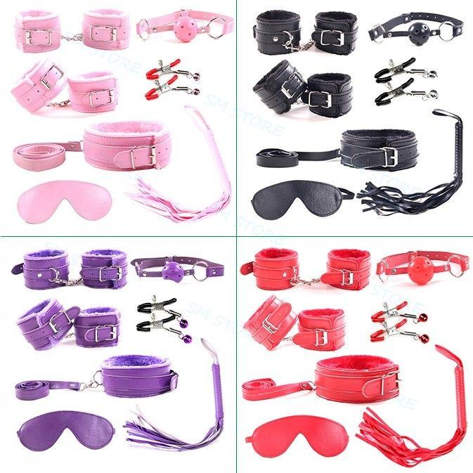 7pcs PrimaversioneRestraraint Adulti Adulti Collare in polso Blindfold Polsini in pelle Whip Gag Faux SexuelstelSoys per # G94Jouets MLMCR