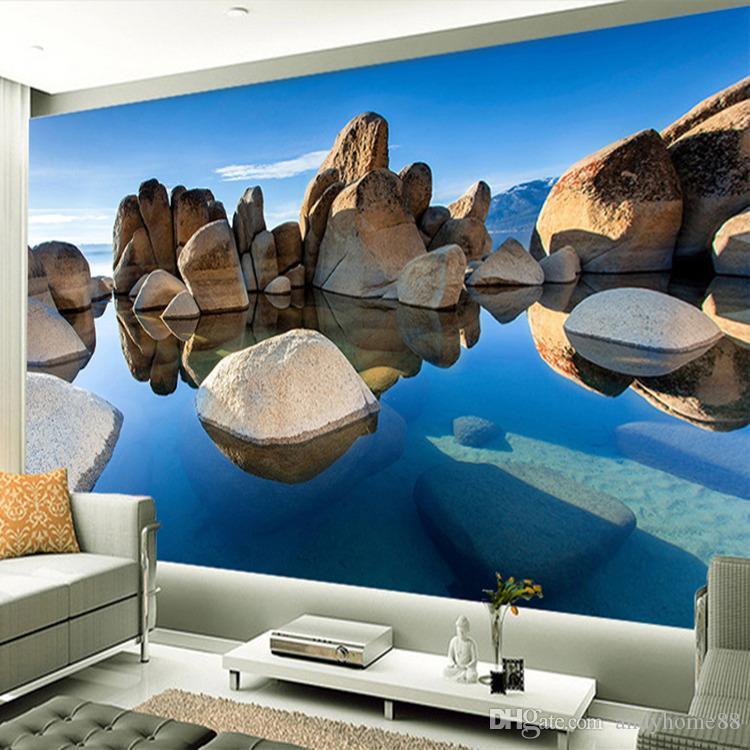 Personalizada Photo Wallpaper Murales 3D Estereoscópica Paisaje Mural de Pared Papel De Parede Sala de estar Dormitorio Pintura de Pared Moderna 3D