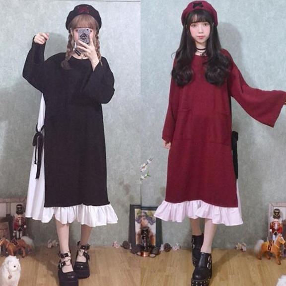 2019 Japanese Plus Size Dress 2018 Lolita Dress For Women Harajuku Female  Patchwork Fake Two Piece Bandage Loose Sweet Ruffle Dresses From Sincha, ...