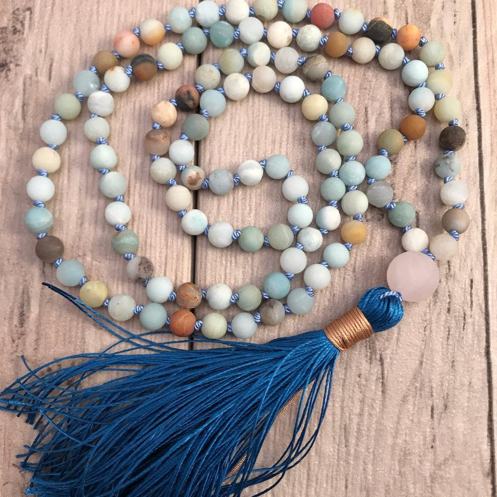 108 Mala Talão Colar Colar De Amazonite Nó Borla Colares Yoga Mala meditação Beads Mens Jóias Oração Colares