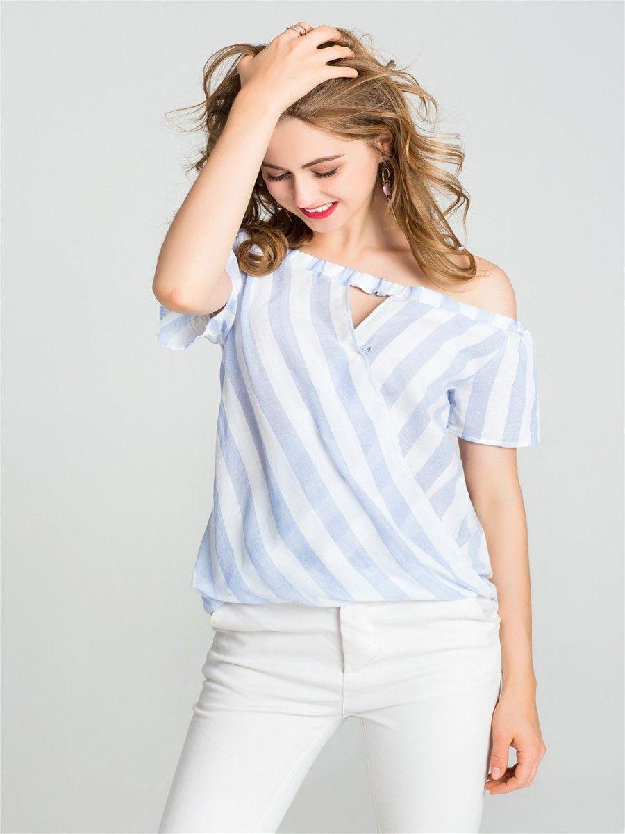 Женская хлопчатобумажная льняная рубашка с плеча повседневная рубашка с коротким рукавом блузка свободная мода полосатая рубашка топ SML XL