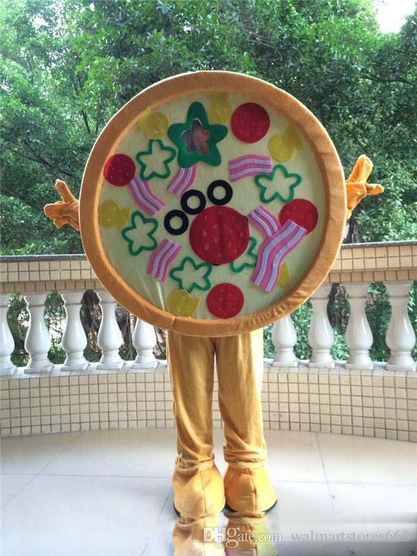 2018 Venta caliente Tamaño adulto Traje de la Mascota de la Pizza Halloween Navidad Cumpleaños Sabor Gran Carnaval de la Pizza Vestido de Cuerpo Completo Apoyos traje