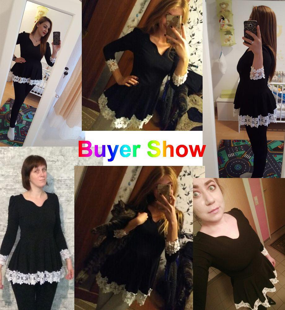c763c3fd11da 2018 Cute Black Lace Shirts Japan Korea Style Woman Fashion Patchwork Cute  Ruffle Blouse Casual Sweet