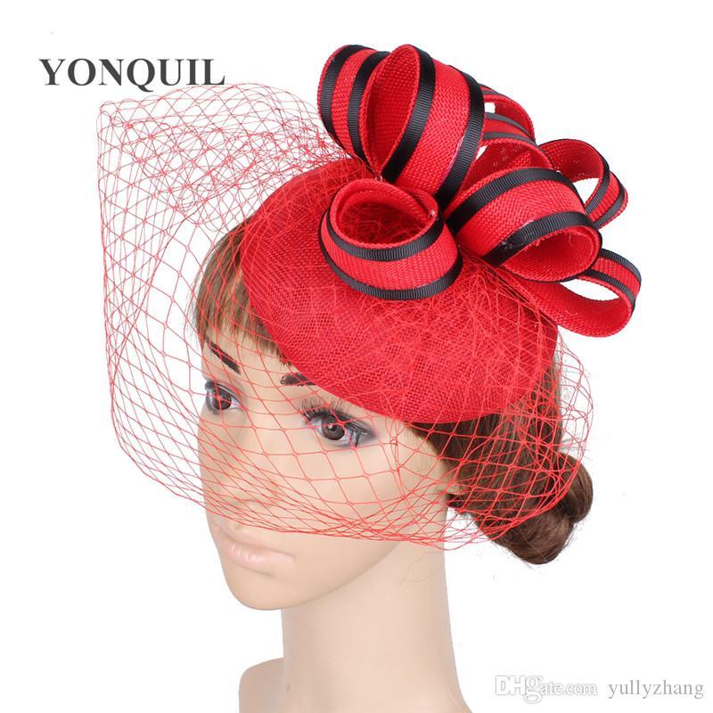 16 Kolory Moda Lady Fascynator Włosy Band Wedding Wakacje Kobiety Fascynator Veil Pałąk Kapelusze Panny Młodej Akcesoria do włosów Headwear SYF185