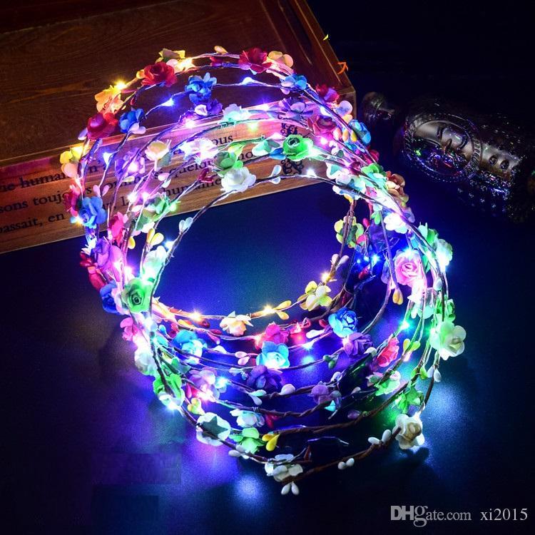 Красочные мигающий светодиодный цветок оголовье светящиеся цветочные волос гирлянда венок свадьба женщины девушка аксессуары для волос wen6847