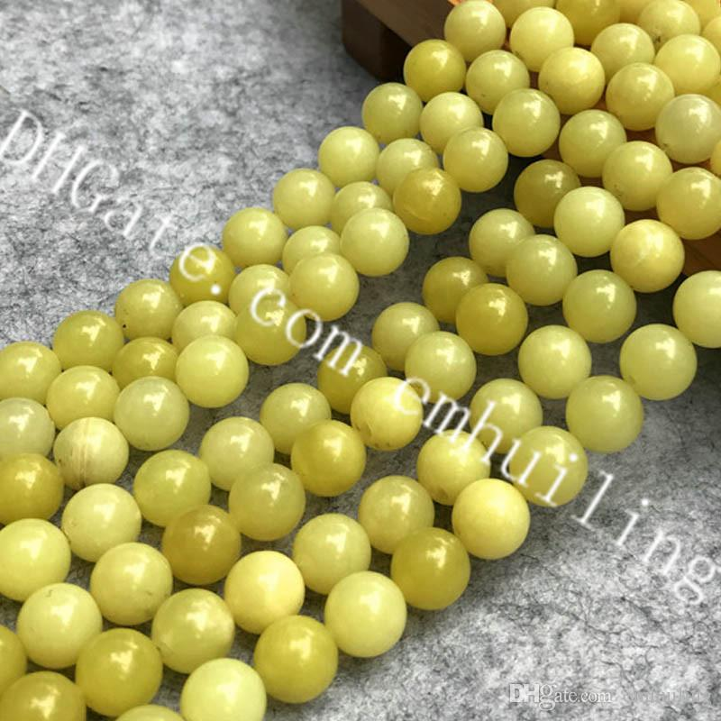 5 Strands Wholesale Natural Lemon Jade Gemstone Round Loose Beads Jewelry Findings Pick Size 4mm 6mm 8mm 10mm 12mm Lemon Stones Drilled Hole
