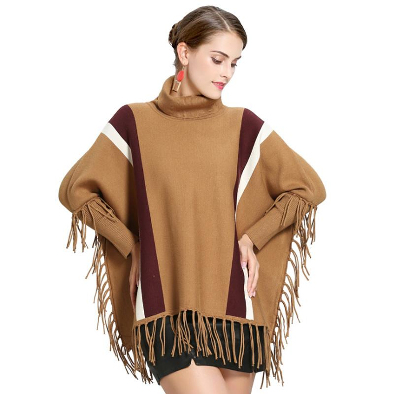 ZDFURS*Fashion Loose Vertical Stripe Turtleneck Sweater Cloak Female Covering yarn Tassels Pullover Coat Cashmere Poncho Cape