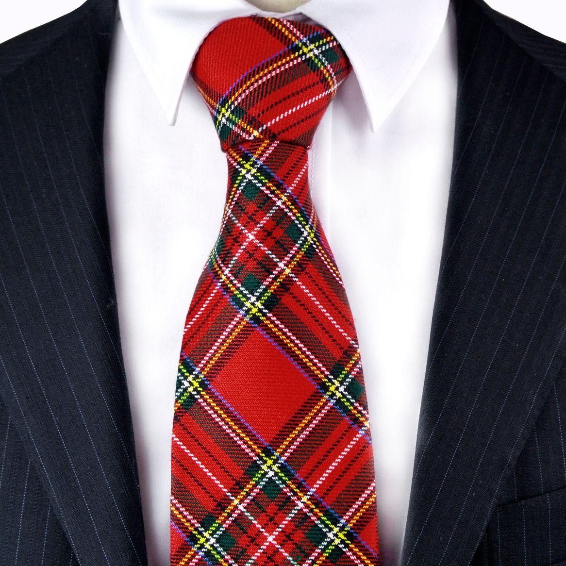 تم الفحص G96 منقوشة الاسكتلندي ترتان الأحمر القرمزي متعدد الألوان الرجال ربطات عنق القطن شحن مجاني البدلة هدية للرجال WHOLSALE شحن