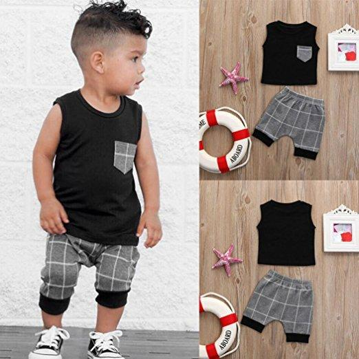 الصيف ملابس الطفل الأولاد بلون سترة تي شيرت طفل قمم رمادي منقوشة السراويل 2PCS مجموعة ملابس الاطفال T54