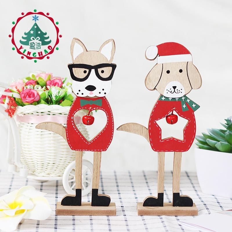 2019 Merry Christmas Wooden dog Ornaments Room Wall Hanging Accessories For Home Table Desktop Stand Decor Santa Bells Dog Gifts